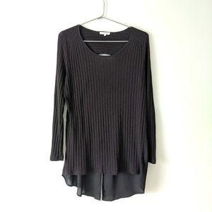 Pleione Ribbed Long Sleeve Black Cutout Tunic